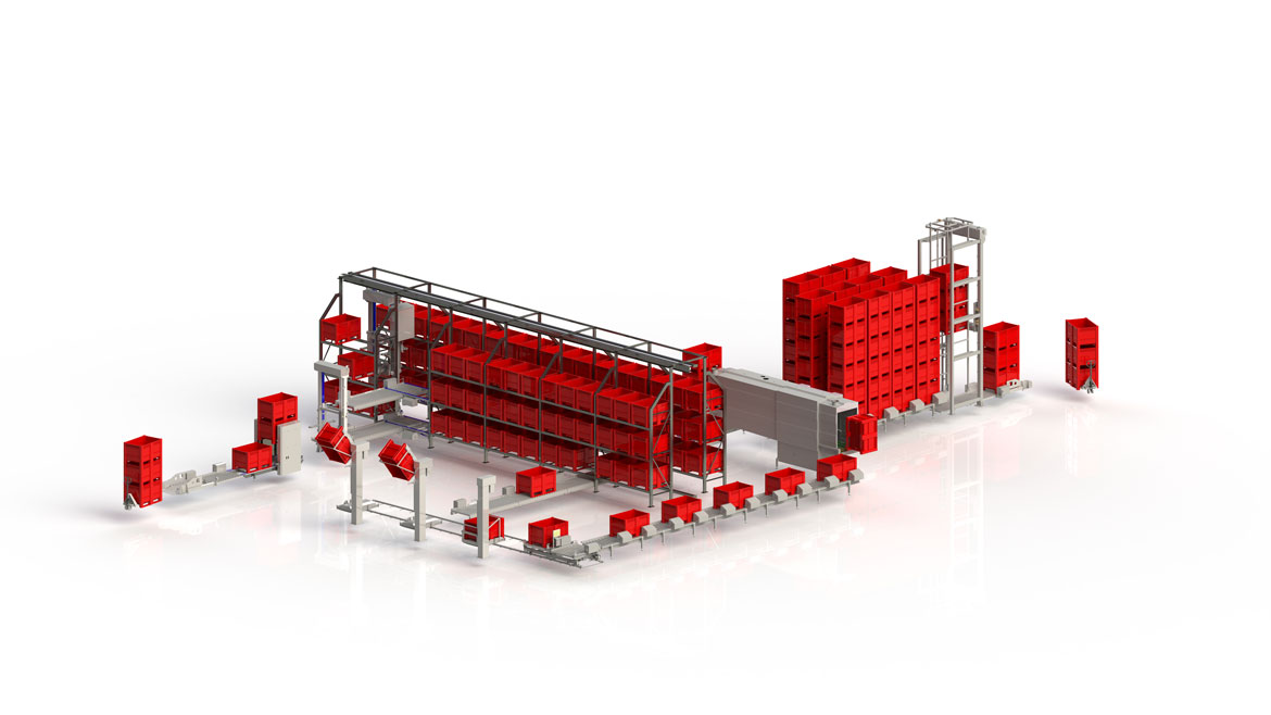 Automated pallet box loading and unloading line